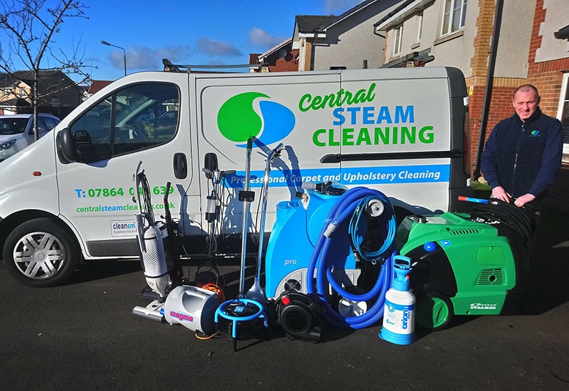 Carpet and upholstery cleaners Stirlingshire - Central Steam Cleaning van and equipment